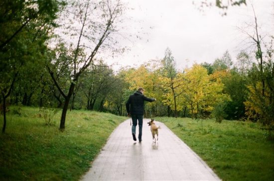 man walking with a dog